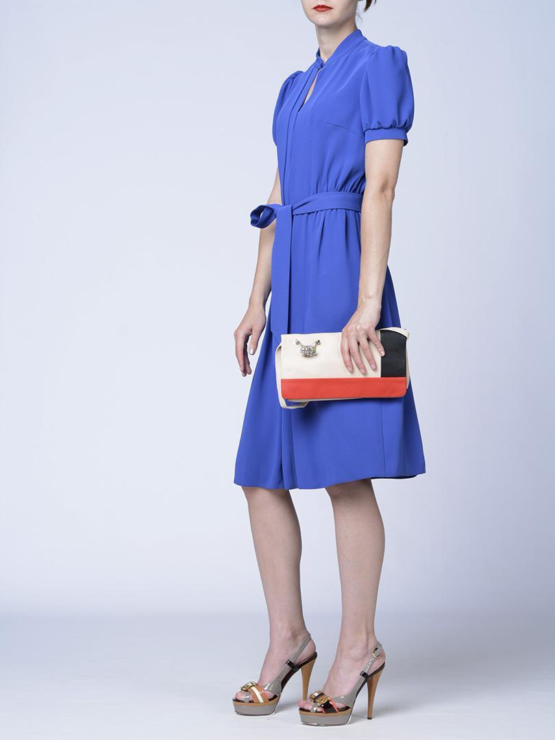 Клатч трехцветный кожаный с перстнем RENATO ANGI -29873