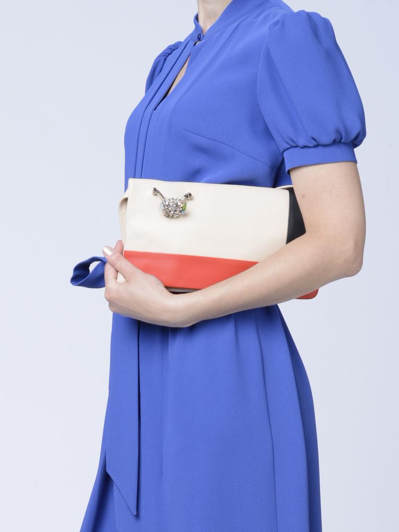 Клатч трехцветный кожаный с перстнем RENATO ANGI -29871