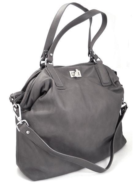 Дамская вместительная сумка из серой кожи итальянской марки GIANNI CHIARINI -26288