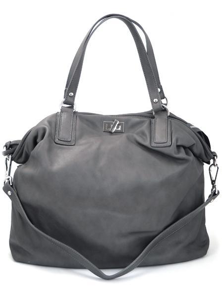 серая вместительная кожаная сумка