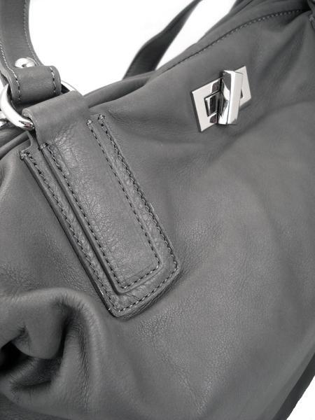 Дамская вместительная сумка из серой кожи итальянской марки GIANNI CHIARINI -26289