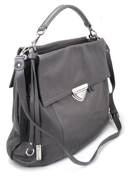 Кожаная серая сумка-портфель итальянской марки GIANNI CHIARINI-26293