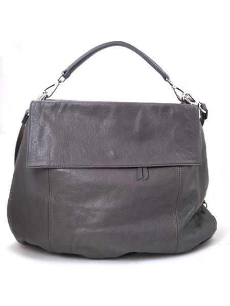 Кожаная серая сумка-портфель итальянской марки GIANNI CHIARINI-26294