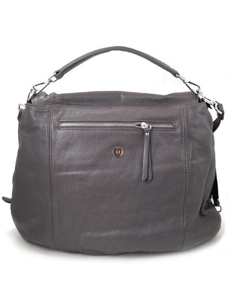 Кожаная серая сумка-портфель итальянской марки GIANNI CHIARINI-26290