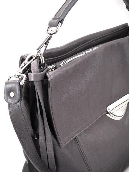 Кожаная серая сумка-портфель итальянской марки GIANNI CHIARINI-26292