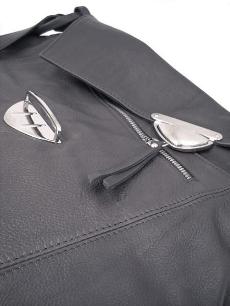 Кожаная серая сумка-портфель итальянской марки GIANNI CHIARINI-26291