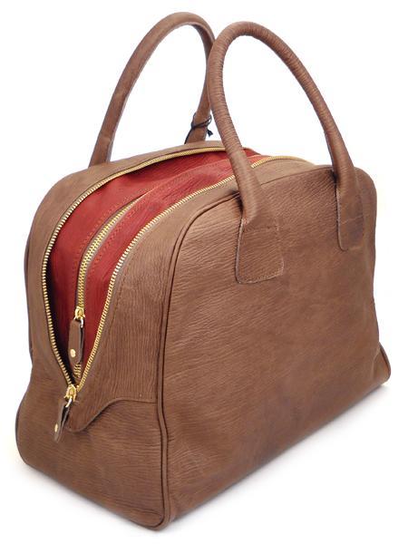 Кожаная сумка-баулетто коричневая с терракотовом ALEANTO