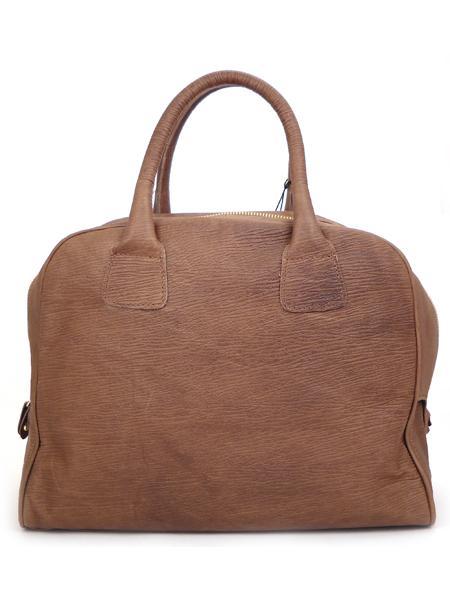 Коричневая с красным кожаная сумка-баулетто ALEANTO -3216