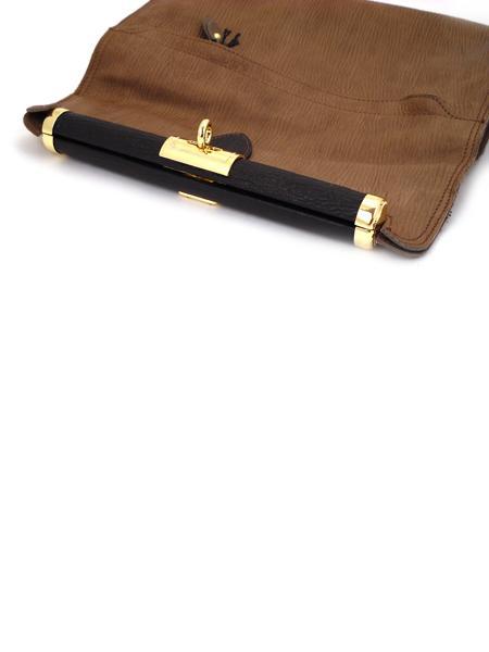 """Коричневый кожаный клатч """"книжка"""" с золотой фурнитурой ALEANTO 5834-3239"""