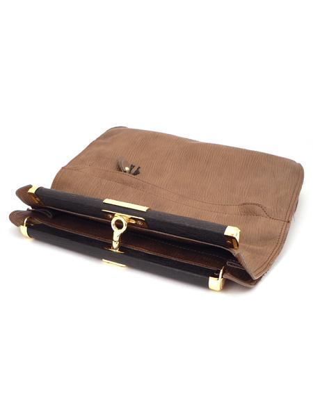 """Коричневый кожаный клатч """"книжка"""" с золотой фурнитурой ALEANTO 5834-3238"""