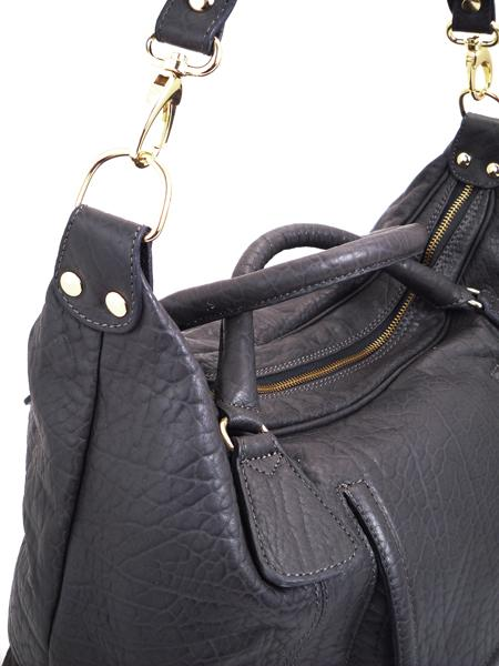 Кожаная сумка цвета мокрого асфальта итальянской марки ALEANTO-3260