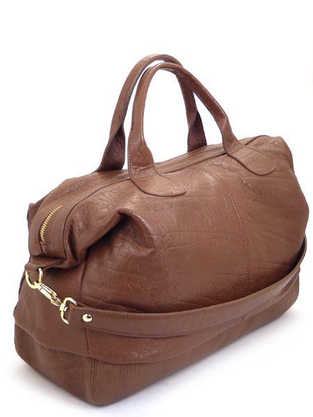 Вместительная кожаная сумка цвета сигары итальянской марки ALEANTO