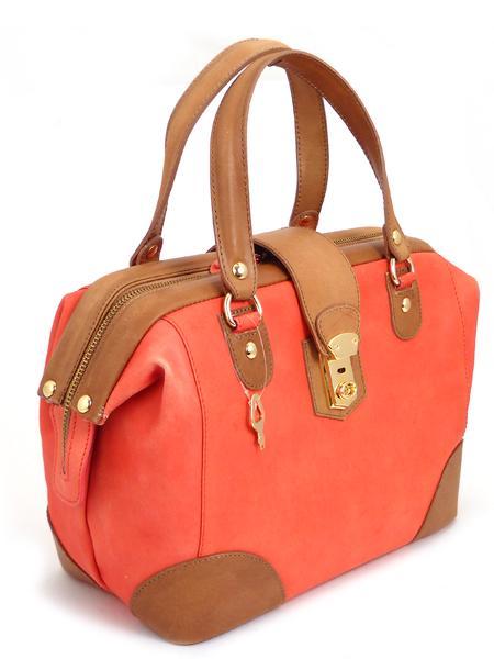 Дамская кожаная сумка цвета коралл ALEANTO