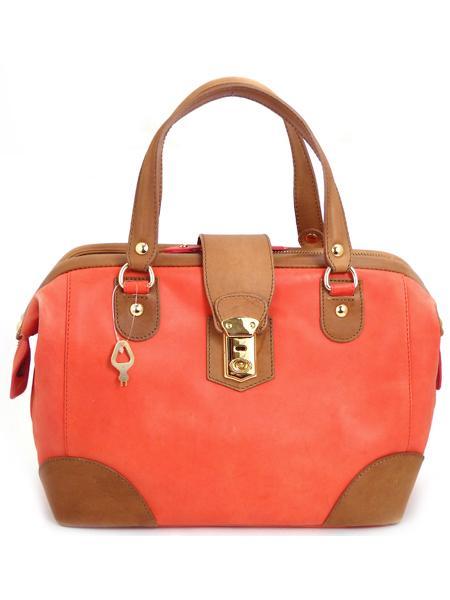 Дамская кожаная сумка цвета коралл ALEANTO -3074