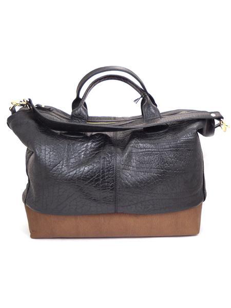 Кожаная двухцветная сумка в стиле унисекс итальянской марки ALEANTO 5877nero-sigaro-3284
