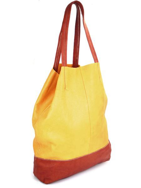 Кожаная шопинговая сумка горчично -рыжего цвета BAGIA-1187
