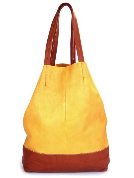 Кожаная шопинговая сумка горчично -рыжего цвета BAGIA-0