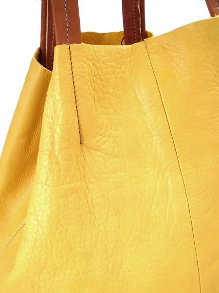 Кожаная шопинговая сумка горчично -рыжего цвета BAGIA-1189