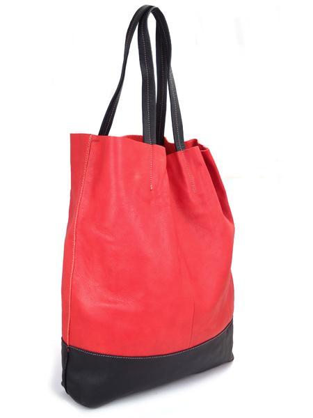 Кожаная шопинговая сумка красно-черного цвета BAGIA 161 rosso-nero-20734