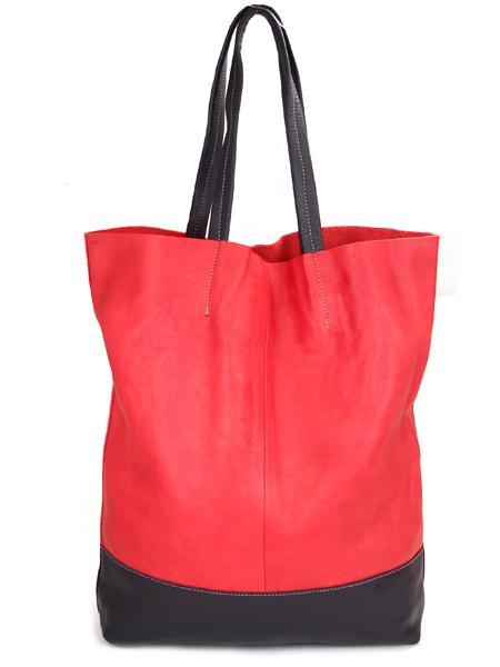 Кожаная шопинговая сумка красно-черного цвета BAGIA 161 rosso-nero-0