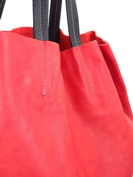Кожаная шопинговая сумка красно-черного цвета BAGIA 161 rosso-nero-1191