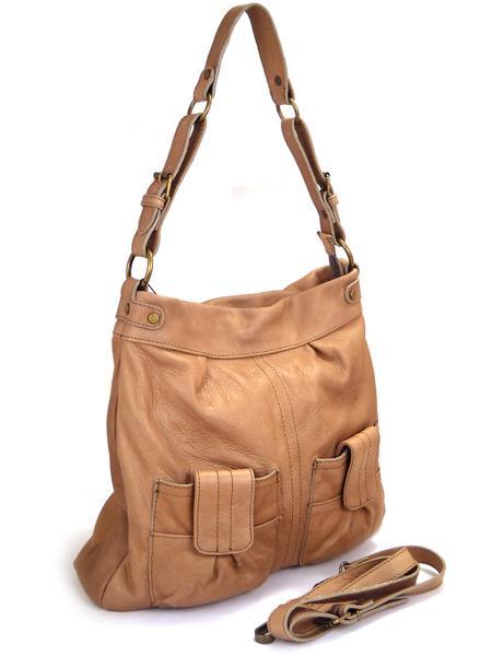 Кожаная сумка цвета арахиса BAGIA -1787