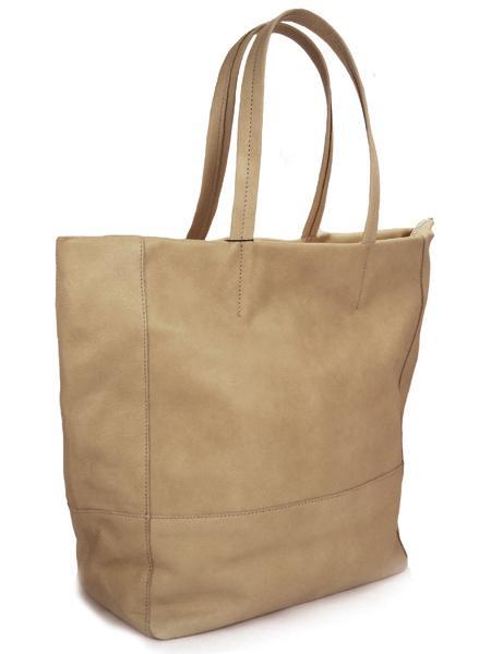 Кожаная сумка для шопинга серо-коричневого цвета на молнии BAGIA 907 taupe