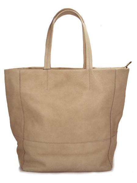 Кожаная сумка для шопинга серо-коричневого цвета на молнии BAGIA 907 taupe-4627