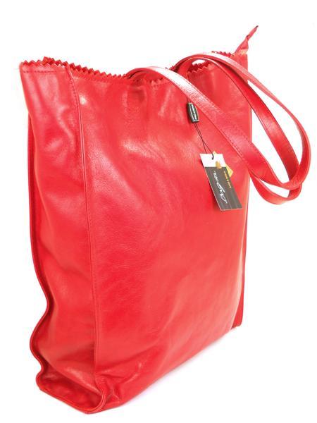 Красная кожаная сумка шопер BAGIA 239rosso-1806