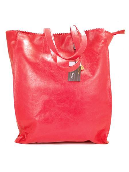 Красная кожаная сумка шопер BAGIA 239rosso-0