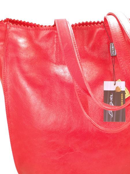 Красная кожаная сумка шопер BAGIA 239rosso-1805