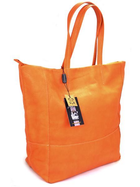 Оранжевая кожаная сумка шопер BAGIA -21708