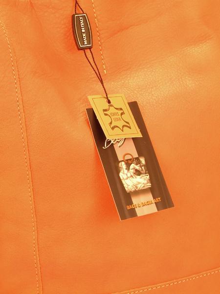 Оранжевая кожаная сумка шопер BAGIA -4620