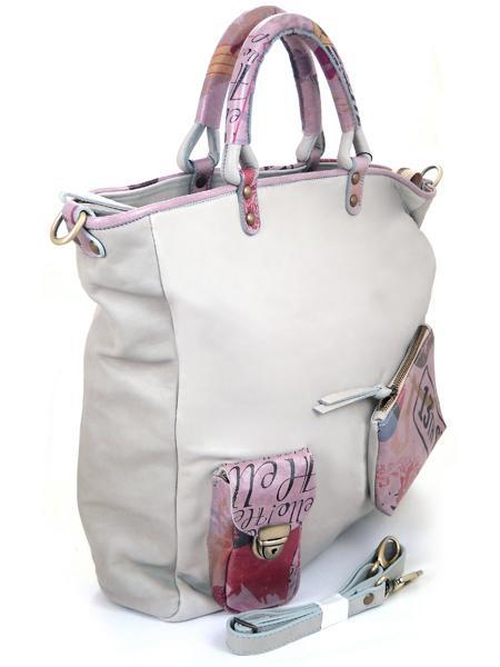 Большая серая кожаная сумка с принтами в стиле ретро BAGIA 10-12