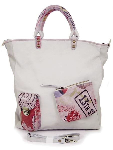 Большая серая кожаная сумка с принтами в стиле ретро BAGIA 10-12-506