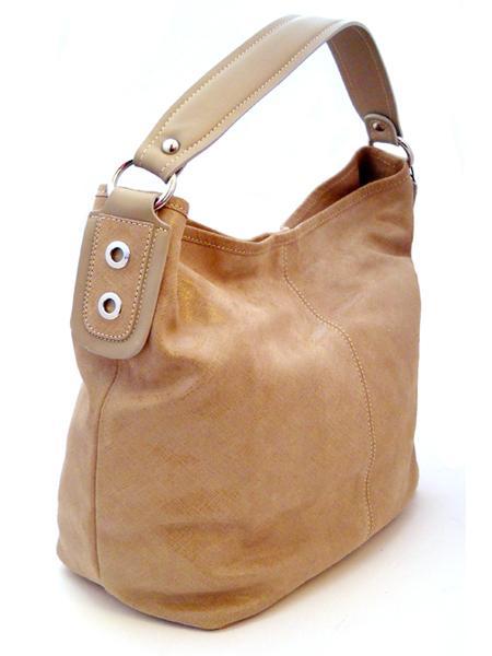 Классическая кожаная бежевая сумка итальянской марки INNUE-21874