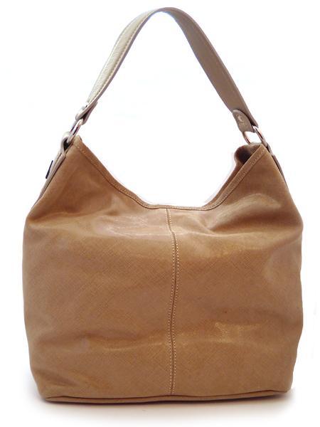 Классическая кожаная бежевая сумка итальянской марки INNUE-5205