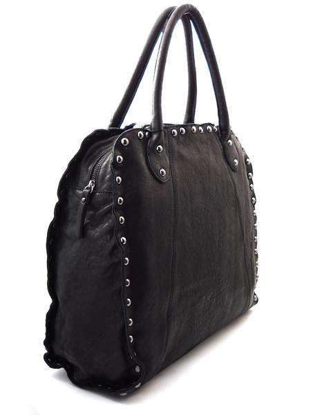 Большая черная кожаная сумка с клепками итальянской марки INNUE'-20647