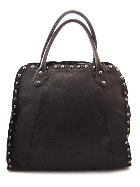 Большая черная кожаная сумка с клепками итальянской марки INNUE'-851