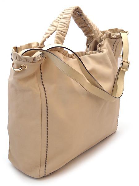 сумка дамская бежевая объемная Plinio Visona