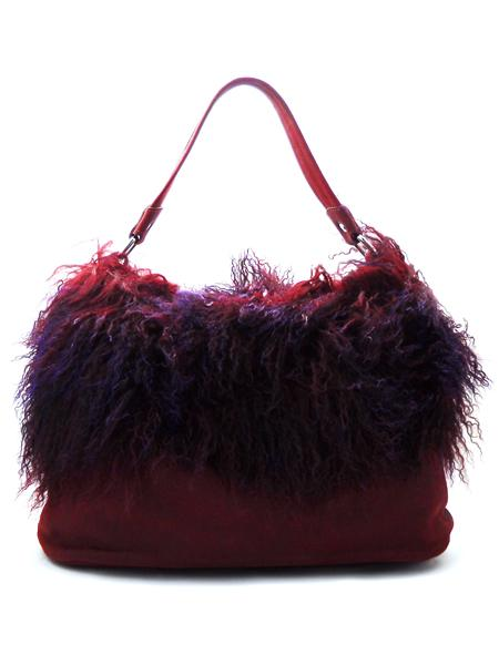 Замшевая сумка цвета бордо с мехом ламы в пурпурных тонах итальянской марки AMBER ROSE-21824