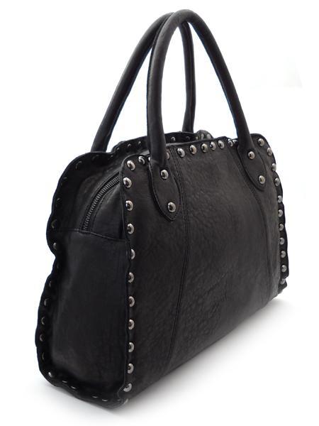 Черная дамская сумка с клепками итальянской марки INNUE-5335