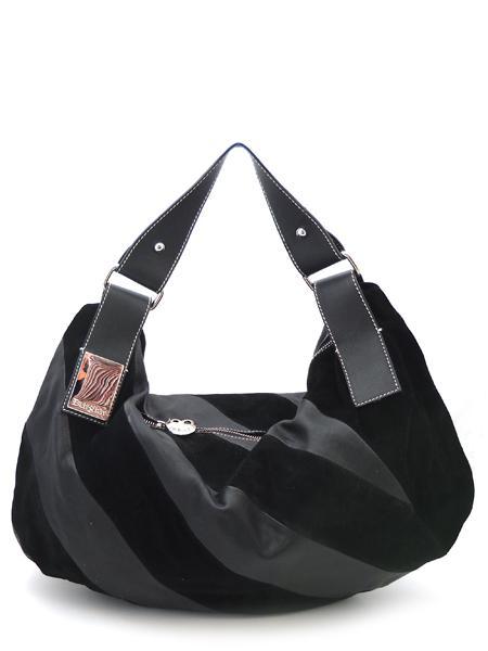 Черная сумка в диагональную полоску итальянской марки BURGLAR-0