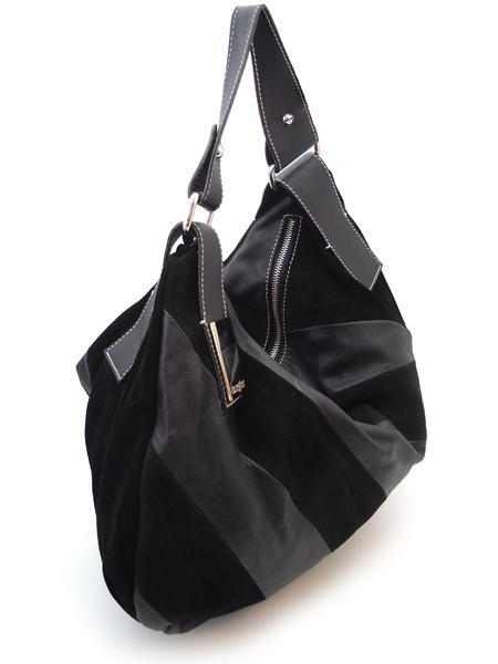 Черная сумка в диагональную полоску итальянской марки BURGLAR-919