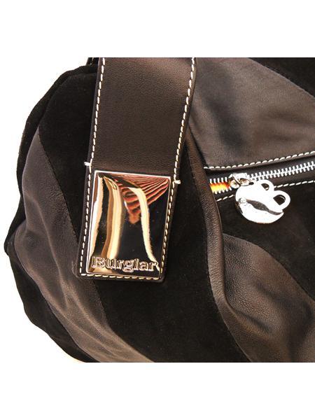 Черная сумка в диагональную полоску итальянской марки BURGLAR-920