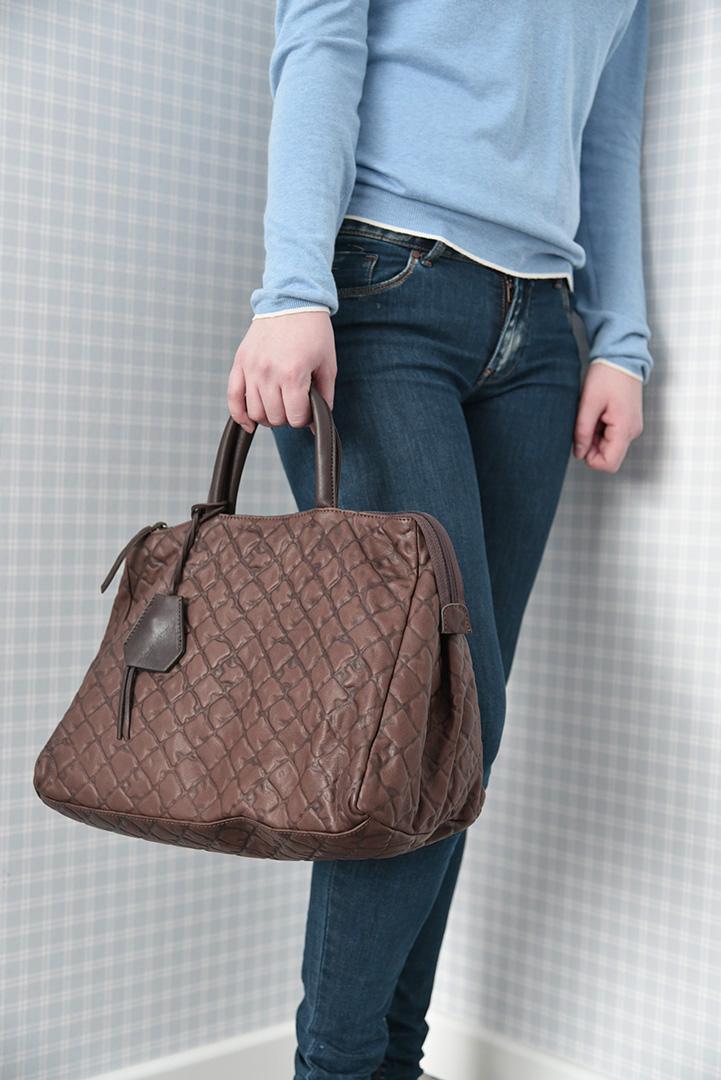 Коричневая дамская кожаная сумка итальянской марки GIANNI CHIARINI -29285