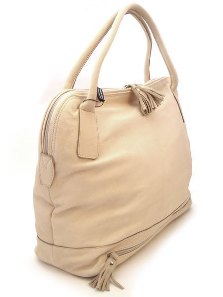 Кожаная сумка молочного цвета с отделением для зонта итальянской марки BAGIA