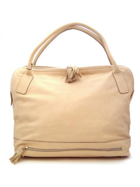 Кожаная сумка молочного цвета с отделением для зонта итальянской марки BAGIA -1309