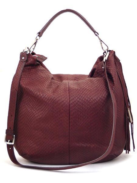 Бордовая сумка из кожи с фактурой под рептилию GIANNI CHIARINI 867 bordo-4465