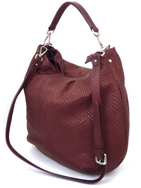 Бордовая сумка из кожи с фактурой под рептилию GIANNI CHIARINI 867 bordo-0